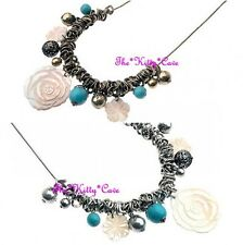 Lola Gem Turquoise Semi Precious Stone Marbles, Carved Shell Rose Cameo Necklace