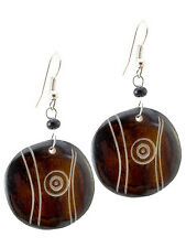 Maisha  Pretty Circle Round Disc Black & White Earrings Fashion FairTrade Africa