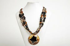 Maisha Pendant Necklaces with glass & onyx beads FairTrade Handmade in Africa