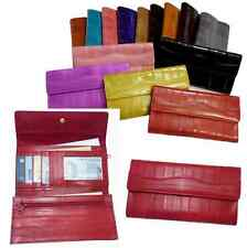 uxury Genuine Eel skin Leather Trifold Wallet with coin Purse Wallet 14 Colors