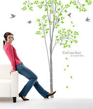 "98"" Tall Large Tree Wall Decals Birch Birds Removable Vinyl Home Decor Stickers"