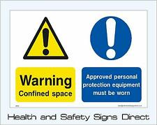 CONFINED SPACE SIGNS & STICKERS ALL SIZES! ALL MATERIALS! FREE P+P (MP24)