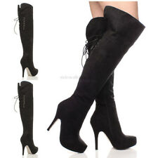 WOMENS LADIES PLATFORM BACK LACE HIGH HEEL OVER THE KNEE THIGH ZIP BOOTS SIZE