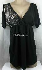 Womens Maternity Shirt Top Black Size Small Flower Blouse New