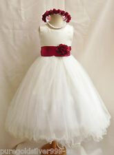 IVORY/APPLE RED CLARET FLOWER GIRL DRESS TODDLER WEDDING BIRTHDAY PARTY DRESS