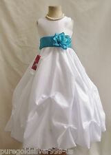 WHITE TURQUOISE BLUE BABY TODDLER PAGEANT BRIDAL RECITAL PARTY FLOWER GIRL DRESS