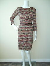 Knit 3/4 Sleeve Dress by David Meister with Leather Accents and Belt