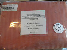 NORTH SHORE LINENS 600 THREAD COUNT EGYPTIAN COTTON DAMASK STRIPE SHEET SET-NEW!