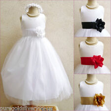 WHITE WITH COLOR SASH TULLE BRIDAL PARTY PAGEANT RECITAL GOWN FLOWER GIRL DRESS
