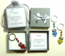 Wise Owl Congratulations Graduation Gift Boxed Personalised Keyring or Bag Charm