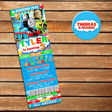 Custom Printed Thomas the Tank Birthday Ticket Invitations