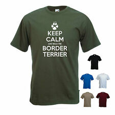 'Keep Calm and Walk the Border Terrier'. Mens funny Pet Dog / gift T-shirt.