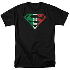 Licensed Superman Mexican Mexico Flag Shield Logo Tee Shirt Adult Sizes S-3XL