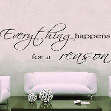 EVERYTHING HAPPENS for a REASON  wall art sticker quote decor LARGE design