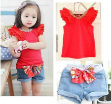 Girls Outfit Kids Toddlers T-Shirt Shorts Top Pants Bow 2PCS Sets SZ1-6Y Costume
