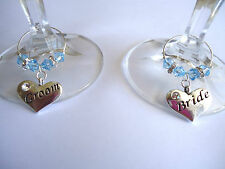 Bride & Groom swarovski Crystals Wine Glass Charms Set- Wedding Table Decoration