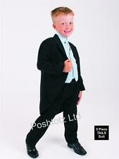 Boys Tails Suit 5 Piece Black & Blue Pageboy Wedding Party Event (0mths-15yrs)