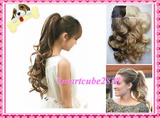13 Color*Party Drama Long(Wavy) Clip in Ponytail Hair Extension*Wrap Around Tie