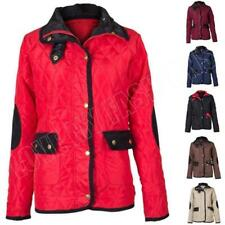 New Womens Ladies Quilt Button Zip Padded Lined Jacket Hood Size S M L XL 8-16