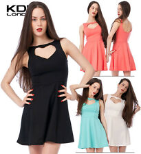 KDK LONDON Ladies Ponte Heart Cut Out Skater Style Party Clubwear Dress £14.99