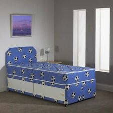 2FT6 Single BOYS BLUE Football Divan Bed+Mattress - FREE HEADBOARD - Storage