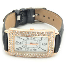 New Fashion Crystal Leather Band Girl Lady Women Analog Quartz Wrist Watch Gift