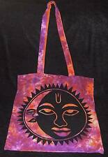 GORGEOUS TRIBAL SUN MOON HANDBAG ORANGE/PURPLE TIE DYE PURSE SATCHEL BAG GROCERY