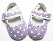 Baby Girl Lavender Polka-Dot Crib Shoes- 2 Sizes -Wholesale Newborn Infant Shoes