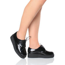 WOMENS LADIES FLAT PLATFORM WEDGE LACE UP GOTH PUNK CREEPERS BROGUES SHOES SIZE