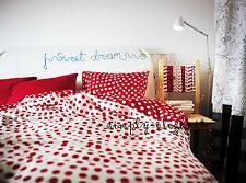 IKEA Queen Full Twin Duvet Quilt Cover Set STENKLOVER Polka Dot Red Gray BNIP