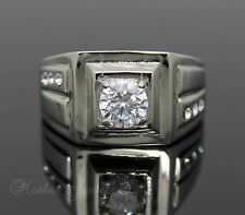 DESIGNER SIMULATED DIAMOND SILVER STAINLESS STEEL MENS BOYS WOMENS RING