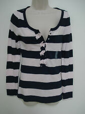 OLD NAVY Women's Pink and Navy Blue Striped Henley Size XS,M,L,XL NWT
