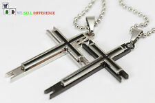 2-Layer Gothic Surgical Stainless Steel Cross Pendant Necklace Cool Jewel Gift