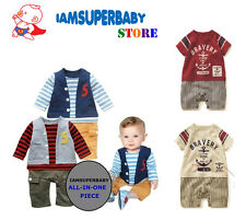 QUALITY & CASUAL BABY - T-Shirt Pants Vest BOY Outfit (STRIPES) 100% Cotton
