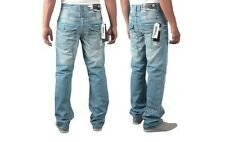 BRANDED  NEW MENS  ENZO DESIGNER LIGHTWASH BLUE JEANS SIZES 28-42  >> SALE <<