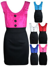 New Womens Lace Contrast Sleeveless Ladies Button Top Plain Skirt Mini Dress