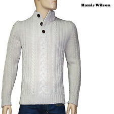 HARRIS WILSON Pull homme laine col boutons beige  taille XL