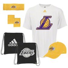 NWT NBA Los Angeles Lakers Adidas 5-Piece Fan Combo Pack Bag Hat Shirt Bands Cap