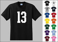 Number 13 Thirteen Sports Number Youth Jersey T-shirt Front Print