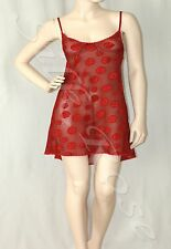 WOMENS PLUS SIZE SLEEPWEAR LINGERIE SCARLET RED SPOTTED CHEMISE NIGHTIE