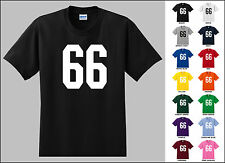 Number 66 Sixty Six Sports Number Youth Jersey T-shirt Front Print