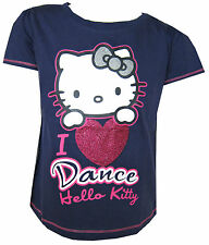 Hello Kitty Girls Navy Blue T-Shirt 'I Love Dance' Ages 3Y,4Y and 6 Years