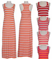 Striped Racerback Sleeveless Tank Maxi Dress Full Length Summer Long Sun Dress