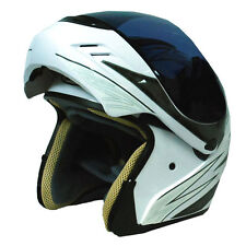 NEW Motorcycle Modular Flip up Full Face Helmet Glossy Racing White S M L XL