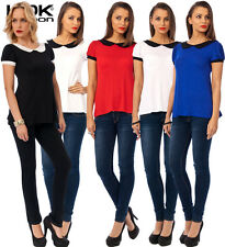 New KDK LONDON Peter Pan Collar Short Sleeve Top , Ideal Casual Day Wear