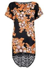 PRIMARK LIMITED EDITION FLORAL SILKY FEEL DROPPED LACE BACK TOP COVER-UP-BNWT