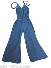 New Womens Ladies Blue Tencel NEXT Playsuit Jumpsuit Size 14 12 10 £48