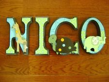Custom Hand-Painted Wood Letters for SUMMER INFANT GIGGLE GANG Crib Bedding New