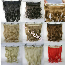 One 24inch wavy hair extension clip-on hot heat resistant wire fiber cap pure