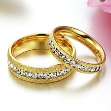 New Love Couple Rings stainless steel Engagement Bands Set Gold Frost Gifts 362